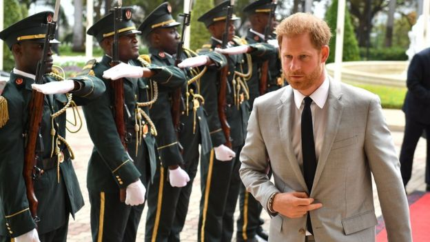 Prince Harry arrives at the presidential palace in Angola