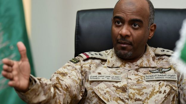File photo of Ahmed al-Asiri, then spokesman for the Saudi-led coalition fighting in Yemen (16 March 2016)