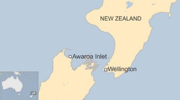 Mapa mostra onde fica a praia de Awaroa