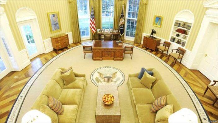 Vista del Salón Oval vacío.