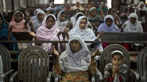 Pakistani Christian worshippers, some of them who survived Sunday