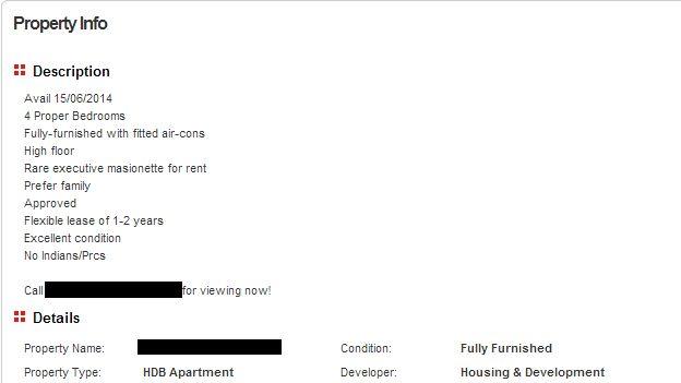 Print screen of a property listing from website PropertyGuru.com, taken on 16 April 2014