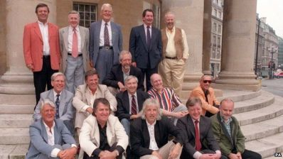 A group of former Radio 1 DJs pictured near BBC Broadcasting House in 1997