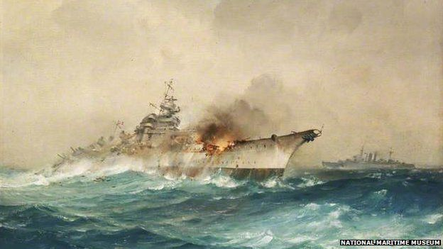 The sinking of the Bismarck by Charles E Turner, 1941