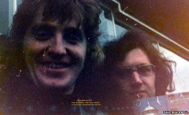 Paul Blackwell and his friend Paul Healey, holding the match programme, at Oldham's game with Manchester United in December 1974