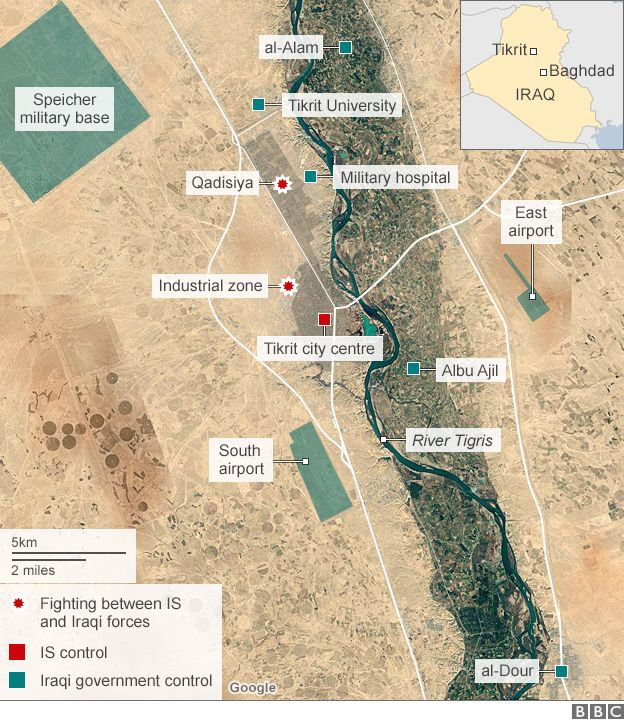 Map showing advances on city of Tikrit