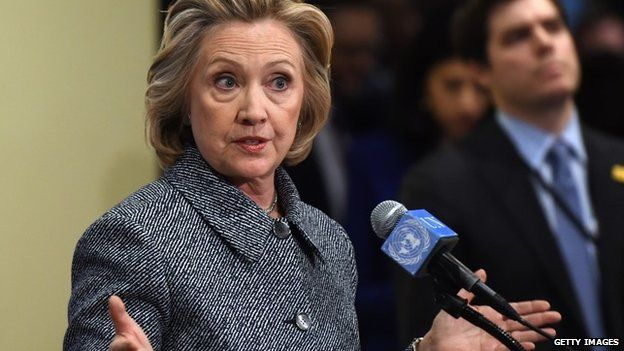 Hillary Clinton answers questions from reporters March 10, 2015 at the United Nations in New York.