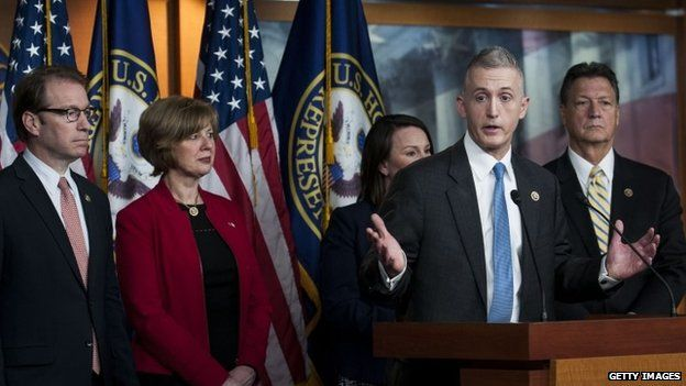 Chairman Trey Gowdy (R-SC) and other members of the House Select Committee on Benghazi speak to reporters at a press conference on the findings of former Secretary of State Hillary Clinton