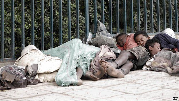 Street children sleeping on a street of Addis Ababa in Ethiopia - 2007