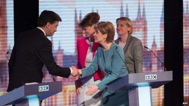 Ed Miliband shakes hands with Nicola Sturgeon at the end of the BBC debate on 16 April 2015
