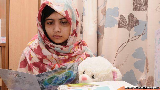 Malala Yousafzai at the Queen Elizabeth Hospital in Birmingham on 7 November 2012
