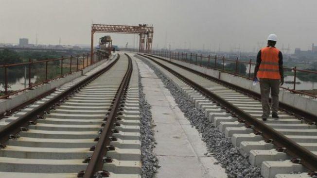 A newly built railway track in Lagos, Nigeria