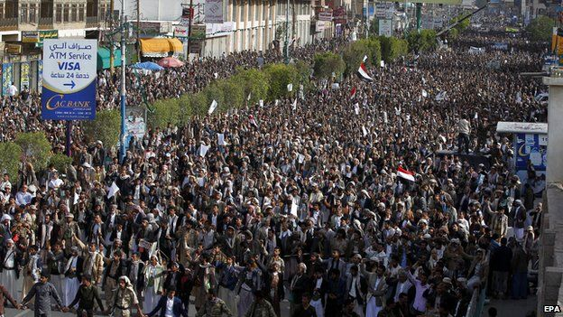 Houthi supporters flood the streets during a rally in Sanaa, Yemen on 27 April 2015