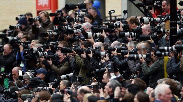 Media outside St Mary's Hospital