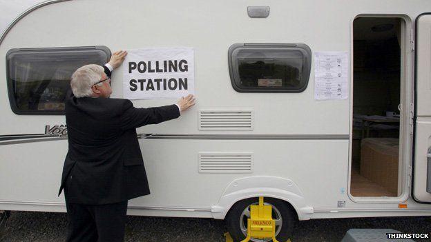 Polling station in a caravan