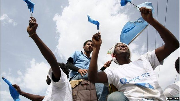 People take part in a Blue Party election rally in the capital Addis Ababa on 21 May.