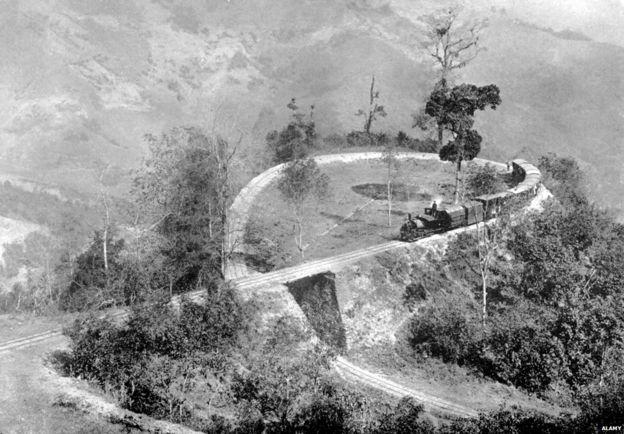 A single loop in the Darjeeling Himalayan Railway, India, c 1910