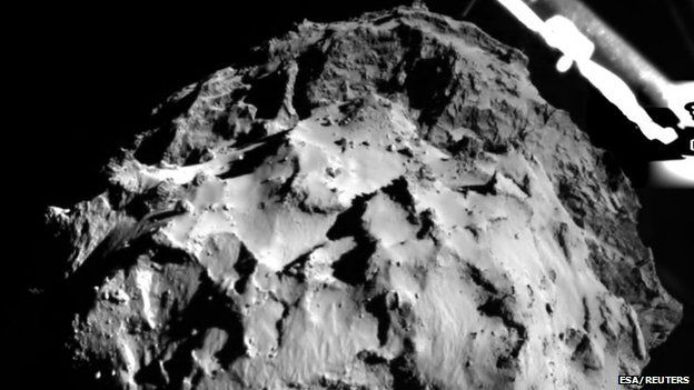 File photo: Comet 67P/CG, acquired by the Rolis instrument on the Philae lander during descent from a distance of approximately 3 km (1.86 miles), 12 November 2014