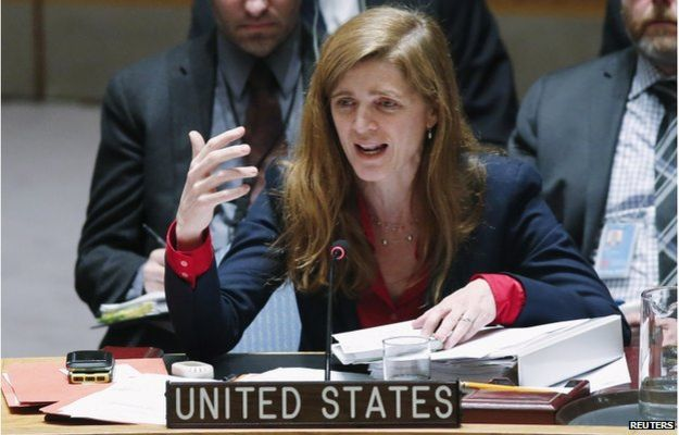 United States Ambassador to the United Nations Samantha Power speaks to members of the Security Council during a meeting about the Ukraine situation, at the U.N. headquarters in New York, 6 March, 2015