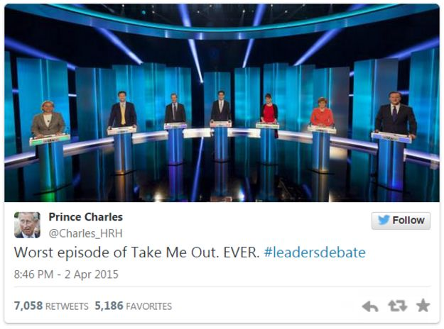 Tweet by a parody account of Prince Charles on the debate - 2 April 2015