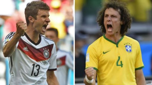 Ciyaaryahan Muller oo weerarka kaga dheela xulka Jarmalka iyo ciyaaryahan David Luiz oo difaaca kaga dheela xulka Brazil.