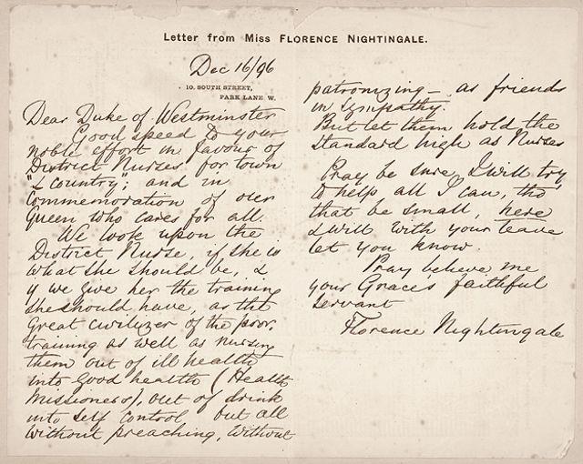 Carta de Florence Nightingale