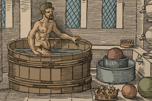 Drawing of Archimedes in the Bathtub