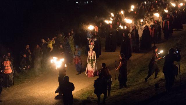 The Beltane Fire Festival band at the annual celebration of Calton Hill, in Edinburgh, Scotland, in 2019.