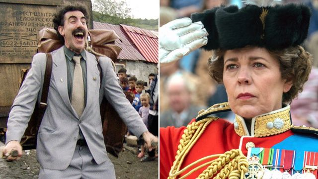 Sacha Baron Cohen in Borat Subsequent Moviefilm and Olivia Colman in The Crown