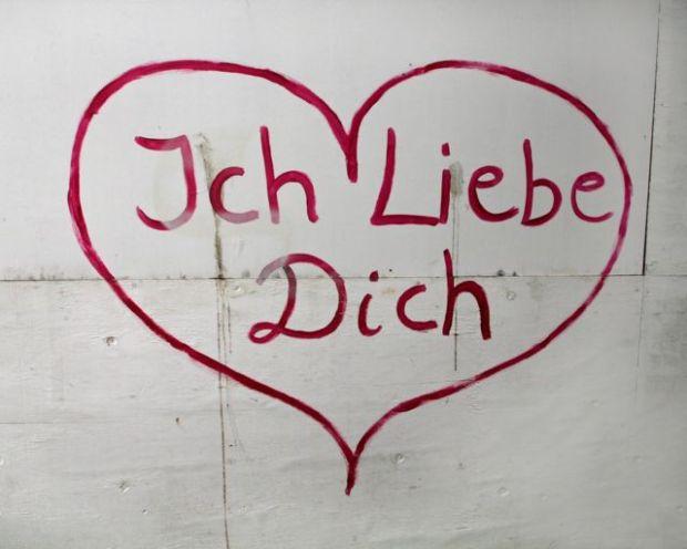 Grafiti ich liebe dich, te amo en alemán.