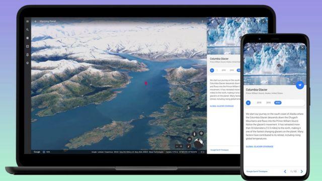 사용자는 웹 브라우저에서 해당 서비스를 사용할 수 있으며, 수년간 녹아내린 알래스카나 브라질 산림 보호와 관련한 가상 투어 패키지와 함께 제공된다