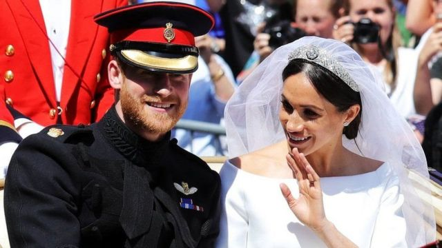 Megan Markle and Harry at their wedding