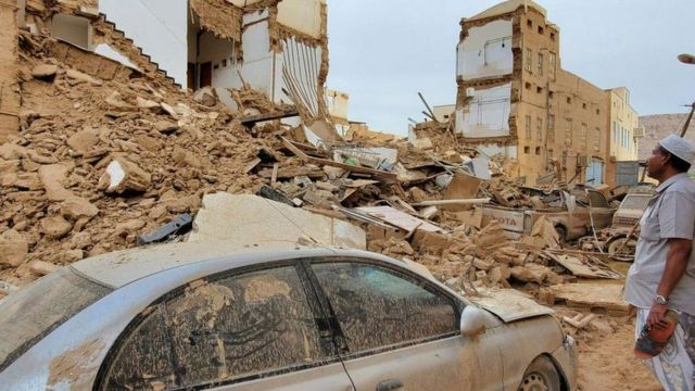 Several buildings collapsed due to flooding in the historic city of Tarim on Sunday
