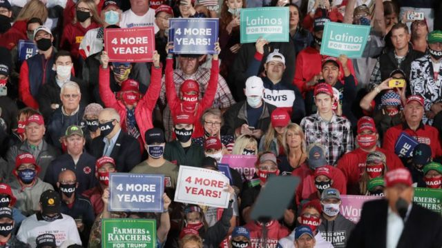 Partidarios de Donald Trump durante un rally político