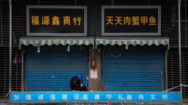 Mercado de Huanan, en Wuhan, en enero.