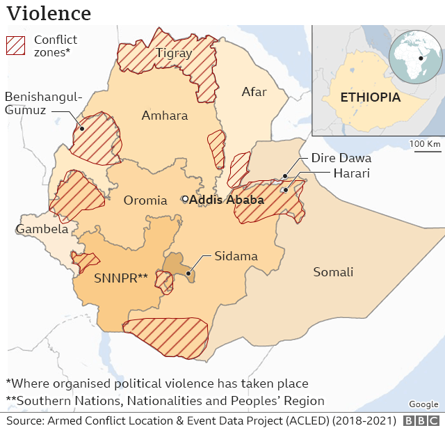 Map of Ethiopia showing where conflict has broken out