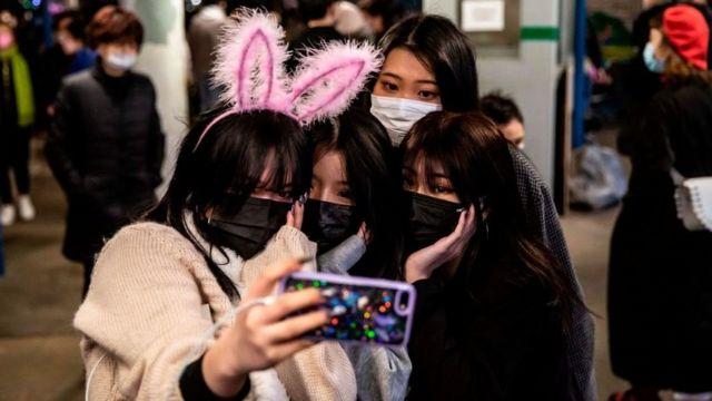 Chinese girls taking a selfie