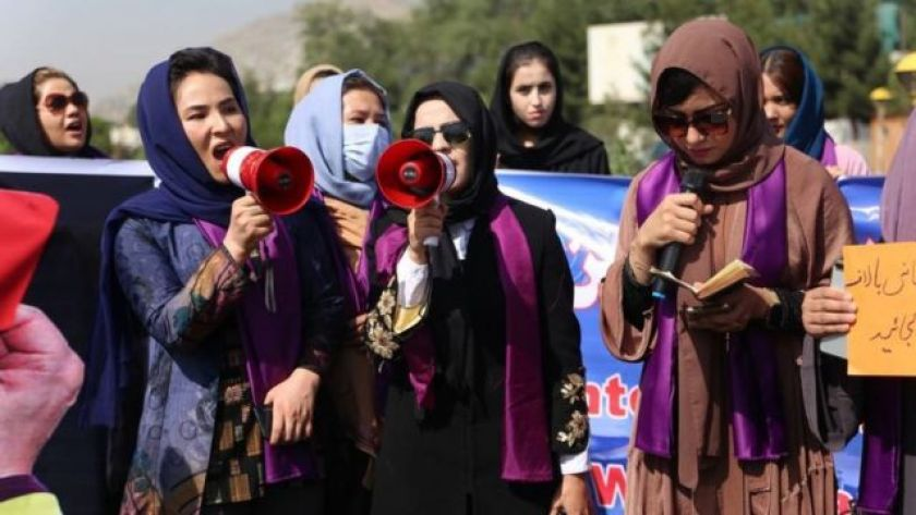 Women protest their rights under Taliban control in Kabul, 4 September 2021