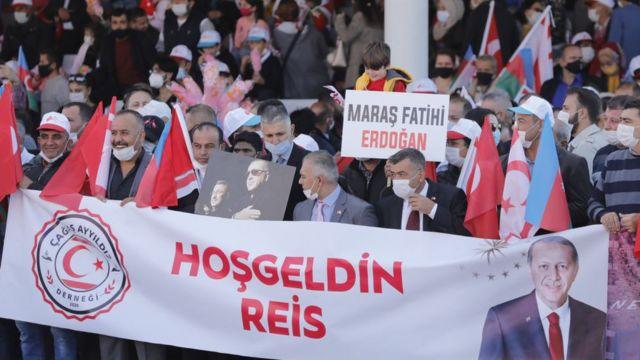 Erdoğan'ın 2020 Kasım'ındaki Kuzey Kıbrıs ziyaretinde destekçileri de gösteri düzenledi.