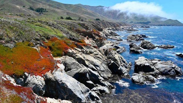 Una costa rocosa de California