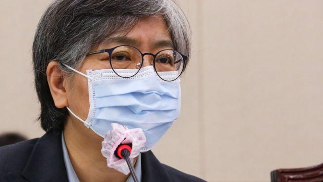 정은경 질병관리청장이 22일 서울 여의도 국회에서 열린 보건복지위원회의 보건복지부, 질병관리청 등에 대한 종합국정감사에 출석해 의원 질의에 답하고 있다
