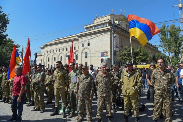 Army personnel and volunteers gather in Yerevan, the capital of Armenia, at a time when the country has announced general mobilization