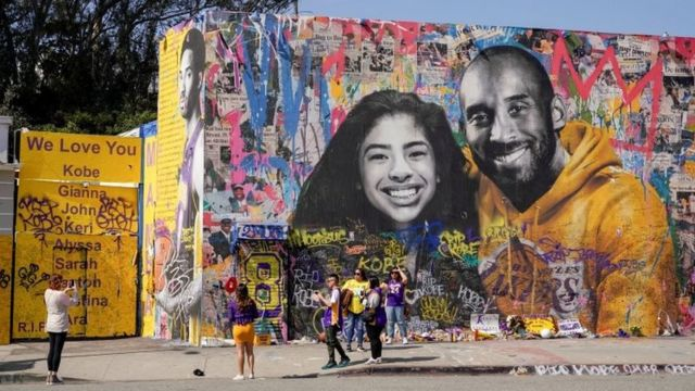 In Los Angeles, USA, fans are still commemorating Kobe Bryant, his daughter and other victims who died in the crash.