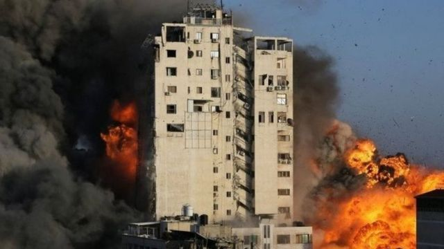 Destruction of a tower in central Gaza
