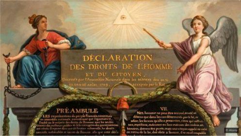 L'œil de la Providence apparaît en haut de la représentation de la Déclaration des droits de l'homme et du citoyen de Jean-Jacques-François Le Barbier en 1789 (Crédit : Alamy)