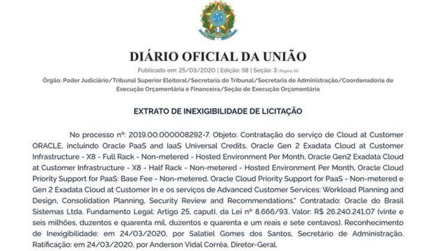 contrato do TSE com a Oracle do Brasil Sistemas, responsável pelo serviço