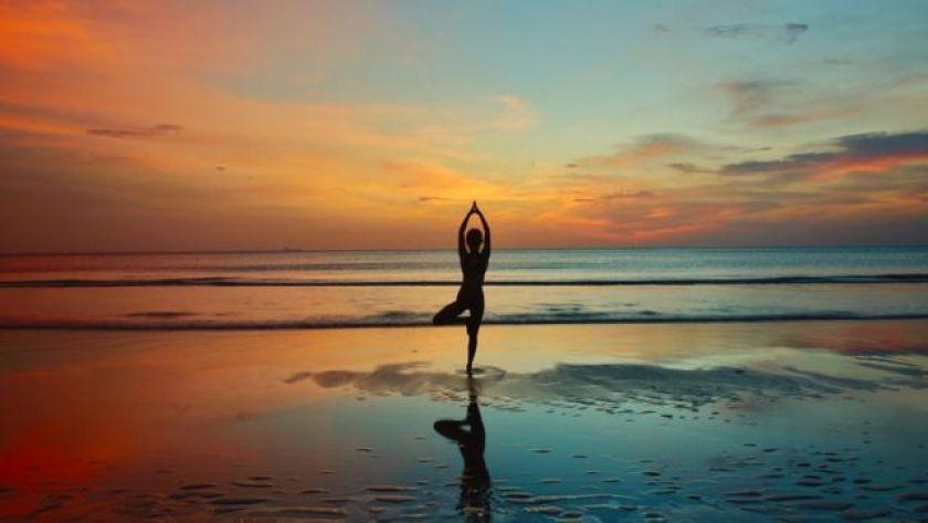 woman does yoga
