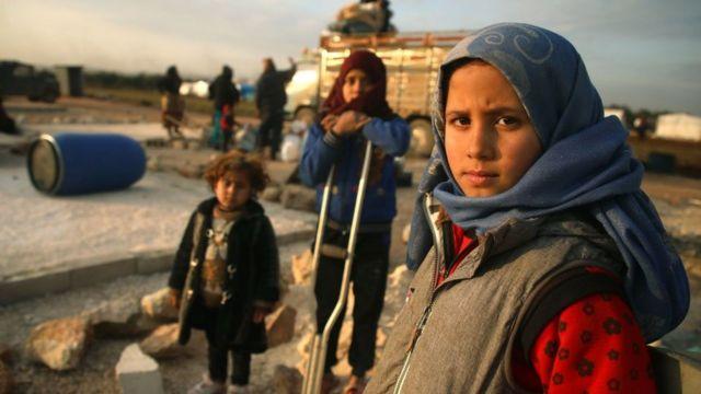Niños en un campo de desplazados en la provincia de Idlib.