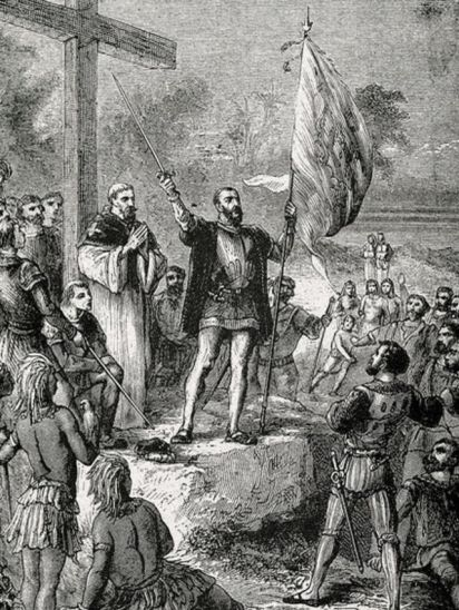 Grabado que muestra a Álvares Cabral tomando posesión de Brasil.
