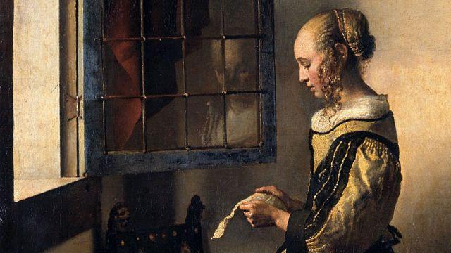 Muchacha leyendo una carta en la ventana abierta, Johannes Vermeer, 1657-59. Detalle.